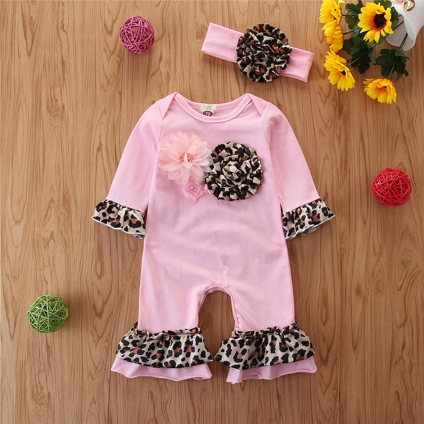 Newborn Baby Girl Outfits Clothes for Romper Shorts Headband Lovely Clothes