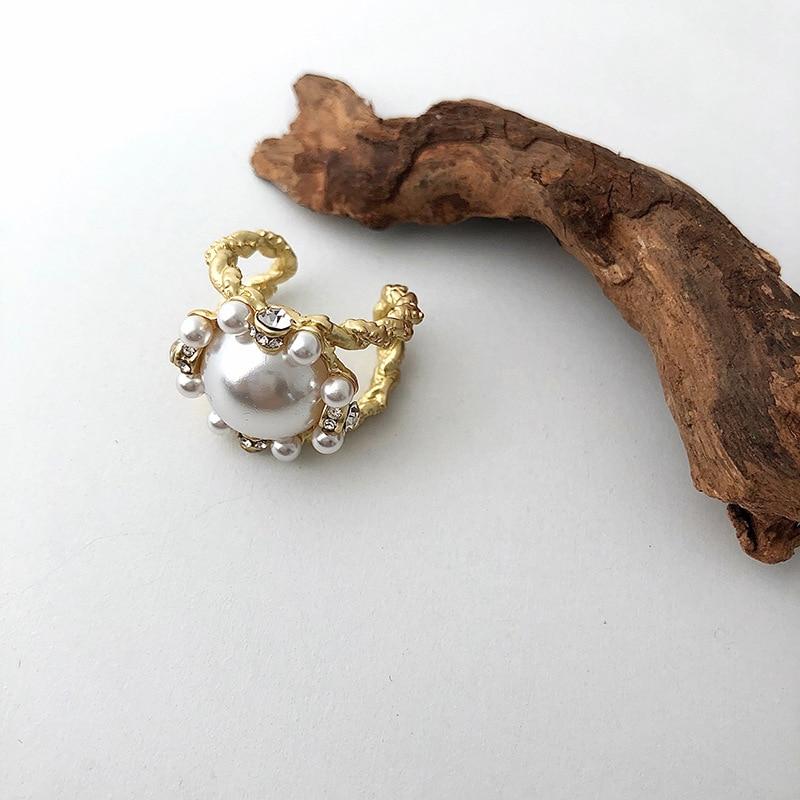 Kökenli yaz barok açık doğal tatlı su incisi açık yüzük kadınlar için zarif ayarlanabilir yapay elmas yüzük takı aksesuarları