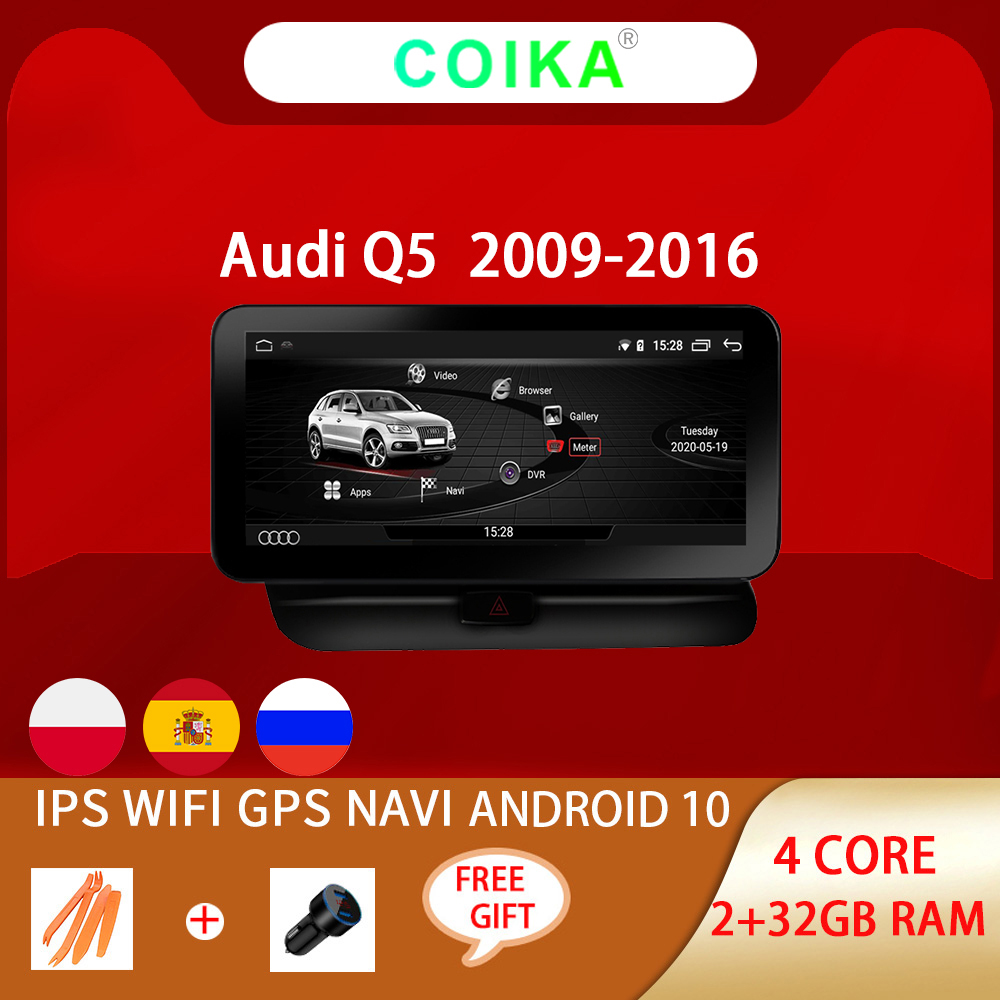 Система COIKA Android 10 автомобильный головный блок GPS для Audi Q5 2009-2016 Google SWC BT WIFI мультимедийный проигрыватель 2 + 32G RAM IPS сенсорный экран