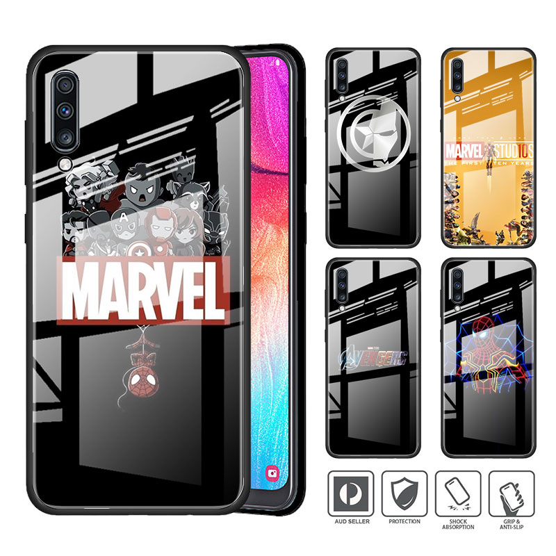 Tempered Glass Phone <font><b>Case</b></font> for <font><b>Samsung</b></font> <font><b>Galaxy</b></font> A51 A71 A50 A70 A10 A20 <font><b>A30</b></font> A40 A91 A01 M31 M21 M51 Cover <font><b>marvel</b></font> avengers <font><b>Logo</b></font> image