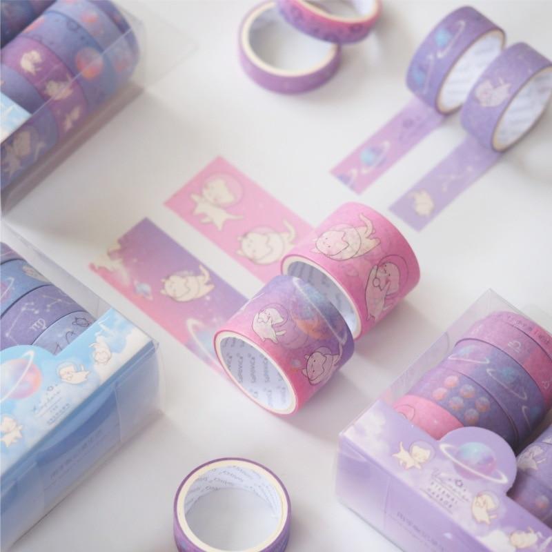 10 Pcs/pack Cat Star Walking Decorative Washi Tape Set DIY Scrapbooking Masking Tape School Office Supply