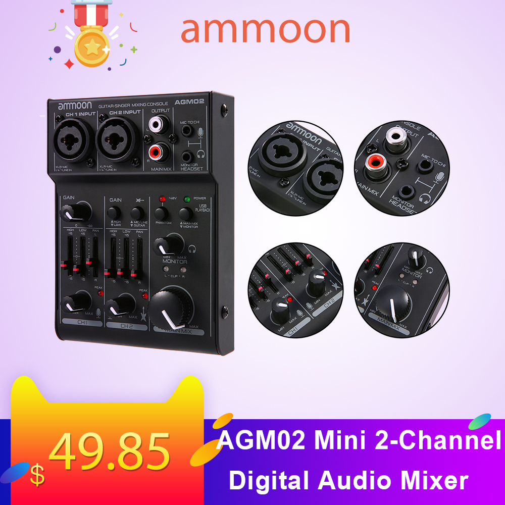 Ammoon AGM02 Mini 2-Channel Sound Card Mixing Console Digital Audio Mixer 2-band EQ Built-in 48V Phantom Power 5V USB Powered