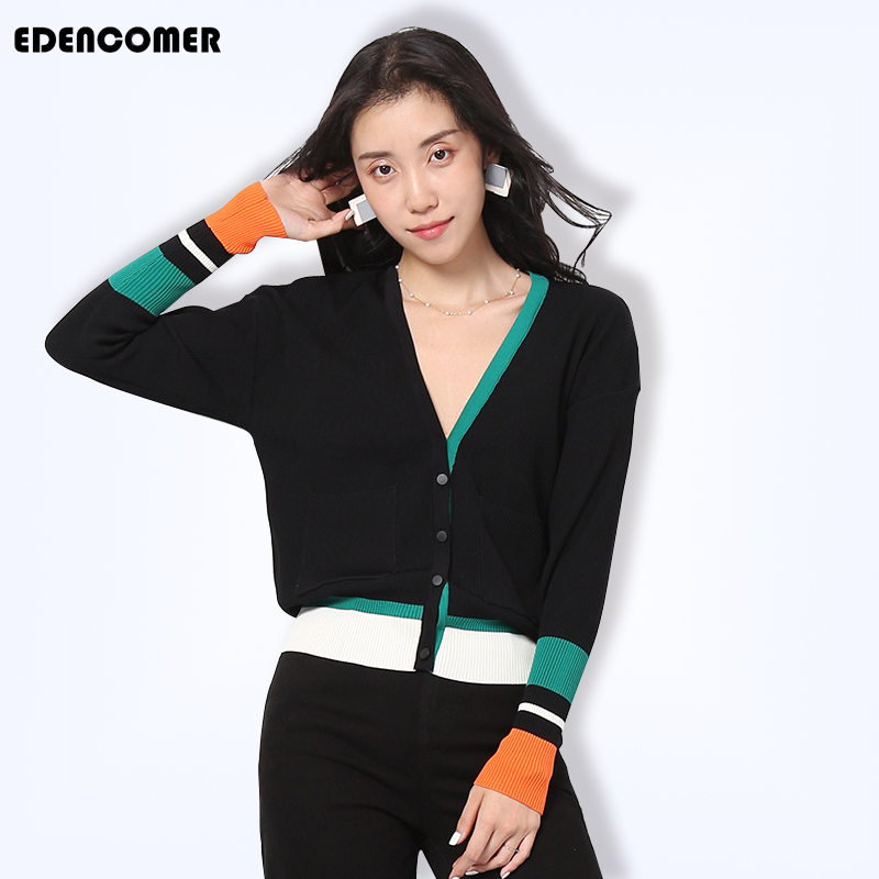 Chandails d'automne pour femmes 2019 nouveau automne femmes Slim contraste noir Cardigans chandail femmes à manches longues chandail Outwear hauts