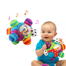 Baby Rattles Hand Grasping Ball Plush Soft Cloth Mobile Toys With Sound Infant Body Building Ball Toys For 0-12 Months(China)