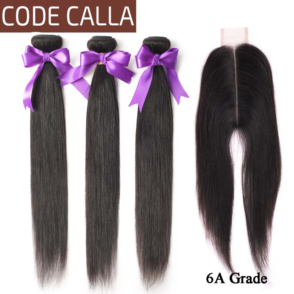 Brazilian Straight Human Hair Bundles With Closure Code Calla Non Remy Hair 3 Bundles With 2X6 KIM K Lace Closure Middle Part