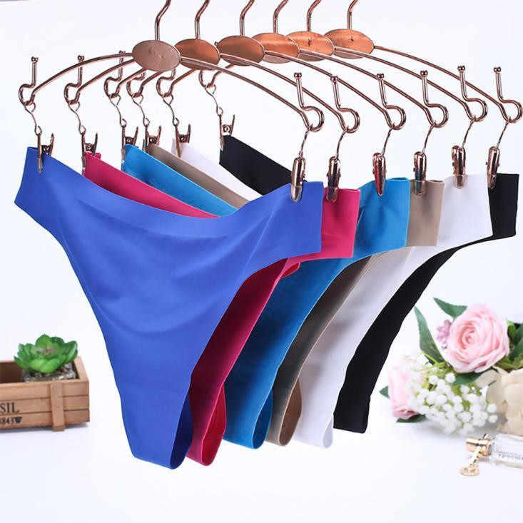 ผู้หญิงที่มองไม่เห็นชุดชั้นในสีทึบกางเกง G-Strings ICE Silk Seamless Crotch Enchanting Women กางเกงขาสั้น Intimates