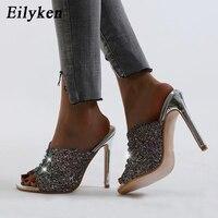 Eilyken nouveau Design paillettes tissu femmes pantoufles mode bout ouvert talons aiguilles haute qualité Bling cristal sandales diapositives chaussures