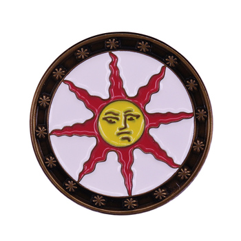 Knight of Sunlight Circular Shield Brooch Holy Symbol Depicting the Sun Badge Shield of Solaire Astora Jewelry image