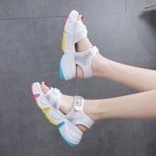 Women Chunky Platform Sandals Mesh White Designers Woman Hook Loop Casual