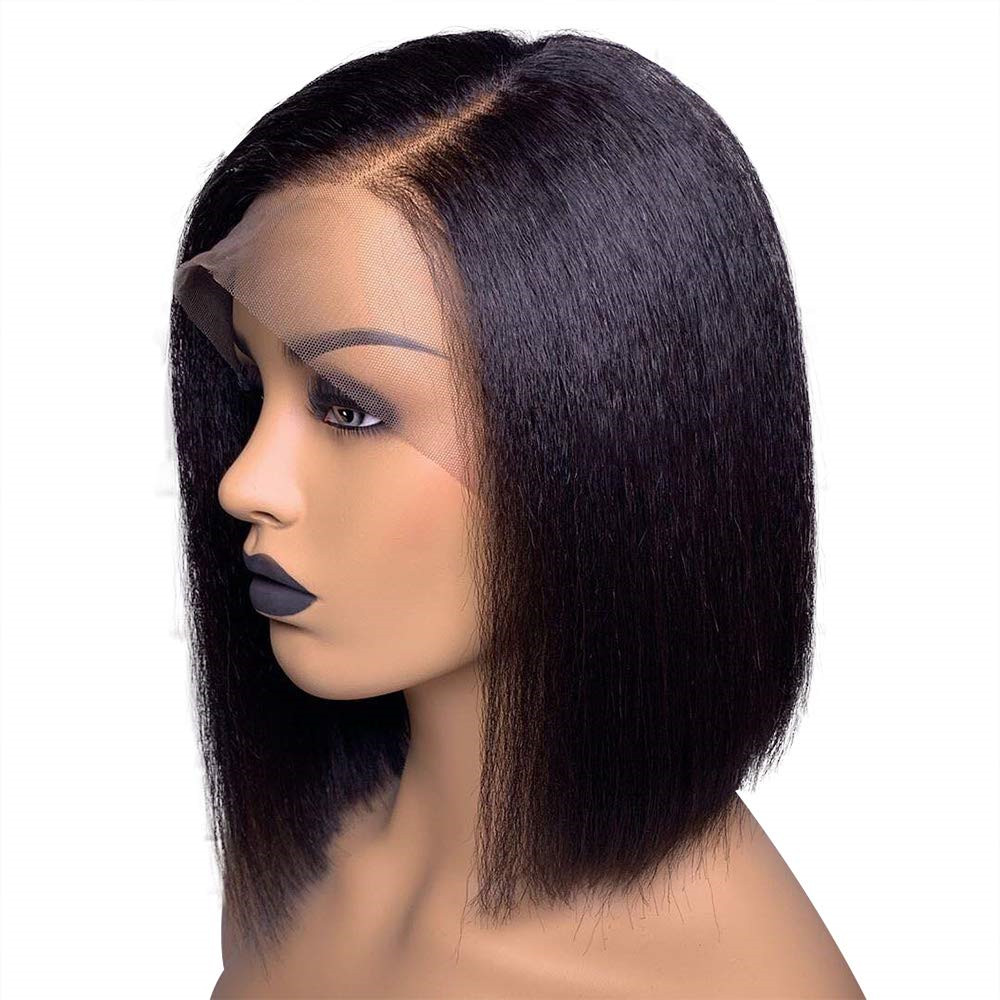 Yaki Straight 13x6 Short Bob Lace Front  Human Hair Wigs For Black Women Pre Plucked Kinky Straight Wig Side Part Brazilian Remy