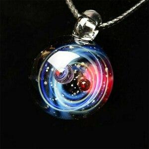 Крошечная Вселенная хрустальное ожерелье Галактический стеклянный шар кулон ожерелье ювелирные изделия подарок Магазин NYZ