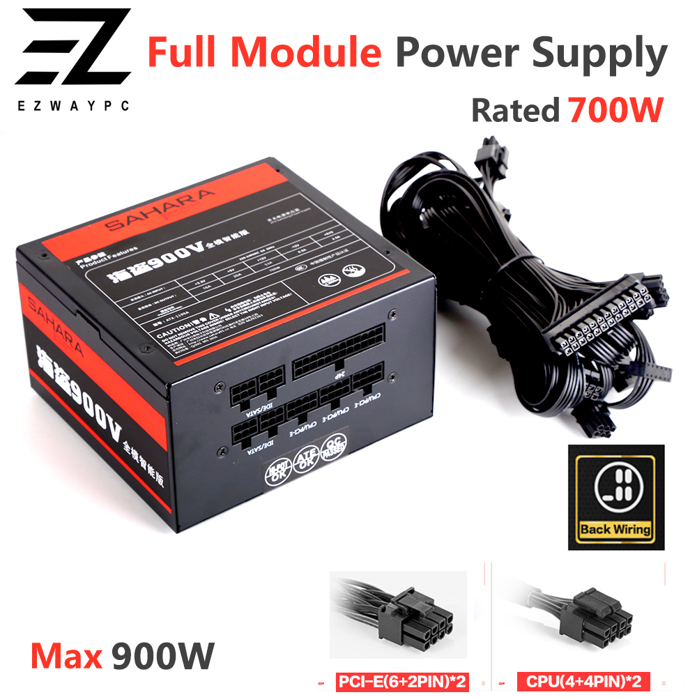 SAHARA Gaming PC Power Supply Rated 700W Max 900W Mining PSU 24PIN 12V ATX Full Module Bitcoin Miner  ETH Coin Mining Ethereum 1