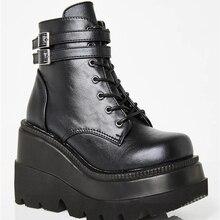 Botas de piel sintética con cuña para mujer, botines de tacón alto de estilo Punk, zapatos de plataforma de diseñador para otoño, 2021