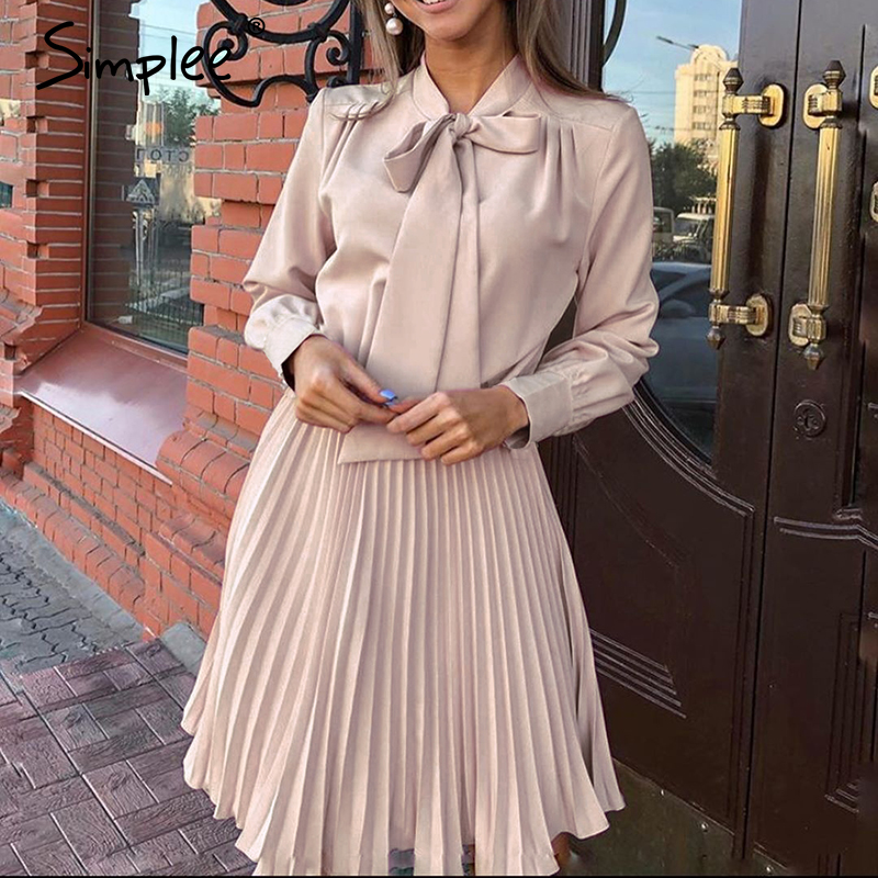 Simplee Vintage Solid Pink Dress Women Elegant Office Lady Casual Dresses Long Sleeve Female Spring Short Party Dresses Vestidos