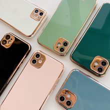 Custodia per telefono con lettere galvanizzate per iPhone 11 Pro Max XR XS Max 7 8 6 6S Plus X Candy Color Rose Gold Soft TPU Cover posteriore Capa(China)