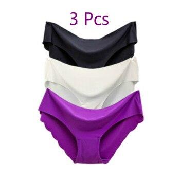 3 Pcs/set  Solid Ladies Women Seamless Panties Ice Silk Underwear G String Panties Sexy Underwear Panties Comfortable Breathable 1
