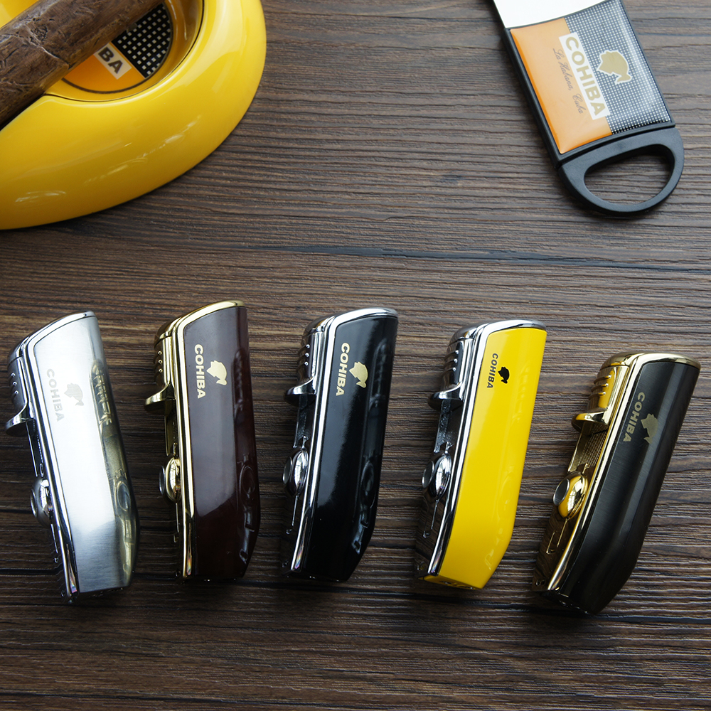Cohiba Metal Cigar Lighter Tobacco Lighter 3 Torch Jet Flame Refillable With Punch Smoking Tool Accessories Portable Gift Box