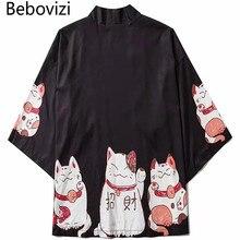 Bebovizi – Cardigan Kimono pour hommes, vêtements de Style japonais, Streetwear d'été, imprimé de chat, Robe Mandarin unisexe, tendance japonaise