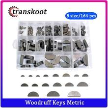 164pcs Carbon Steel Woodruff Key Set Semicircle Bond Key Assortment Kit Different 17 Sizes Fasteners Mechanical Industry