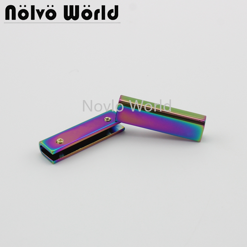 Wholesale 500pcs, 34mm, Rainbow Metal Side Clip Buckle Handbag Hanging Hook Strap Chain Clip With Screw Diy Accessories