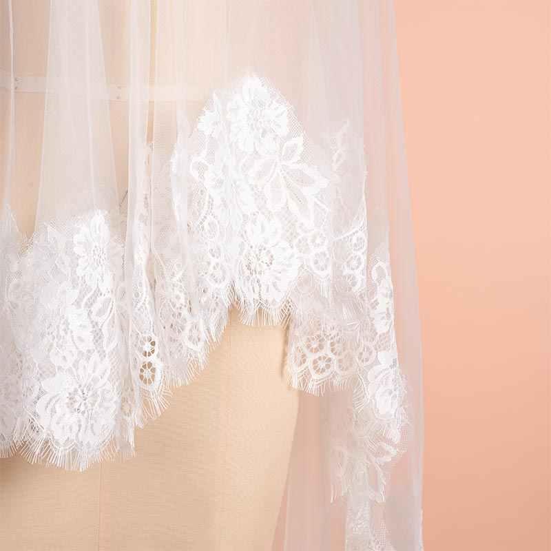 חדש הגעה 2m 3m 4m קתדרלת חתונת רעלות ארוכות כלה רעלה 2019 שכבה אחת לבן שנהב תחרה כלה הרעלות אביזרי חתונה