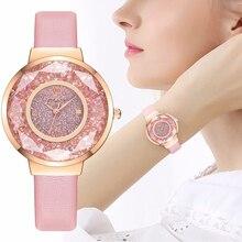 YOLAKO Frauen Leder Moving Diamant Uhr Luxus Damen Quarz Armbanduhren Uhr Reloj Mujer Relogio Feminino