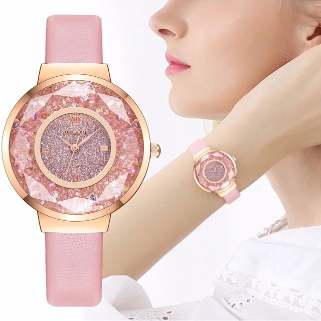 YOLAKO Women Leather Moving Diamond Watch Luxury Ladies Quartz Wrist Watches Clock Reloj Mujer Relogio Feminino