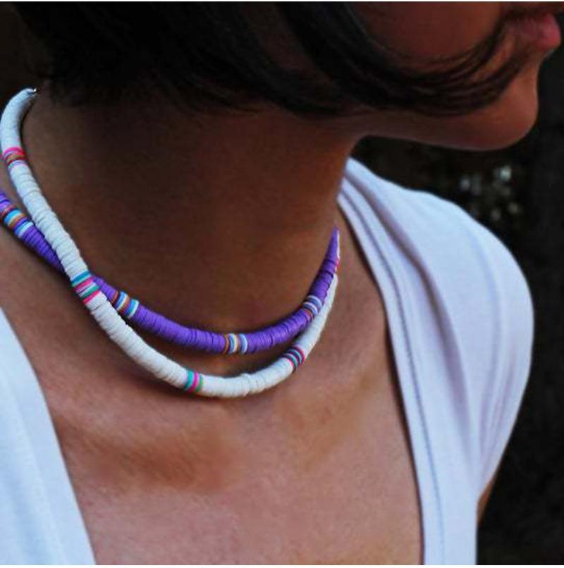G.YCX Bohemian African Vinyl Beads Heishi Necklace Women Fashion Vsco Girl Lucite Choker Necklace Summer Beach Surf Jewelry|Choker Necklaces|   - AliExpress