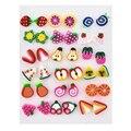 Милые серьги-гвоздики в виде яблока, яблока, глины, клубники для женщин и девочек, модные серьги в виде винограда, детские ювелирные изделия, ...