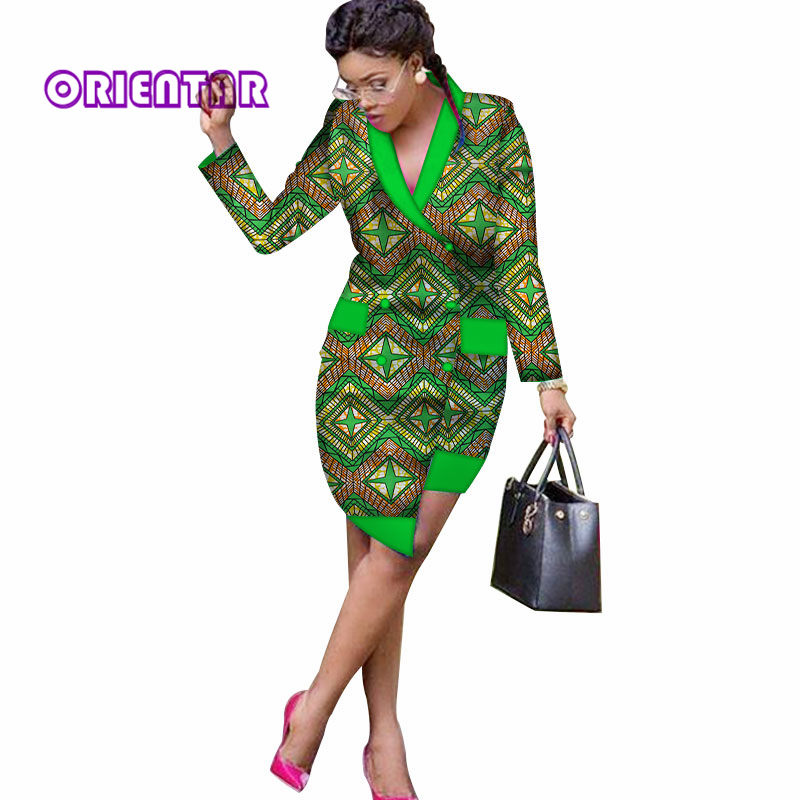 New Autumn Africa Print Trench Dress For Women Sexy V-neck Long Sleeve Asymmetric Midi Dresses Office Lady African Dress WY2876