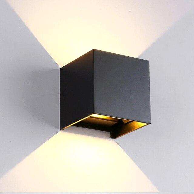 כיכר/עגול חיצוני קיר אור 12W אלומיניום עמיד למים קיר מתכוונן מנורת Led הארה מלון סלון תאורה AC85 ~ 265V