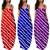 Women Summer Plus Size Maxi Dresses Sexy Solid Stripes Dress Casual Female Loose Sleeveless Tie Dye Beach Party Dress 2021 New 2