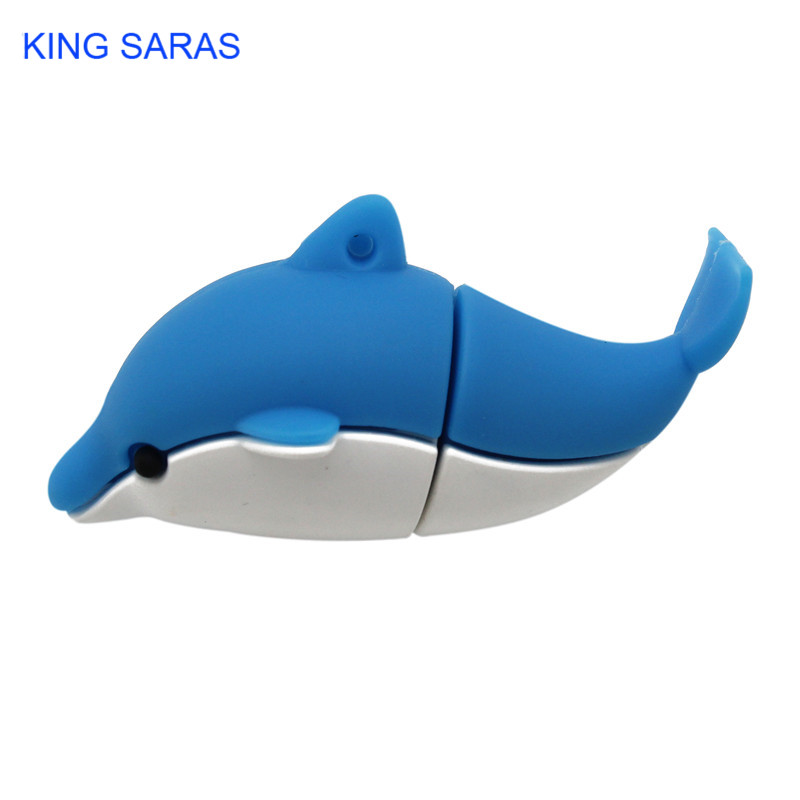 KING SARAS Cartoon Cute Animal Dolphin Style Usb Flash Drive Usb 2.0 4GB 8GB 16GB 32GB 64GB Pendrive Gift U Disk