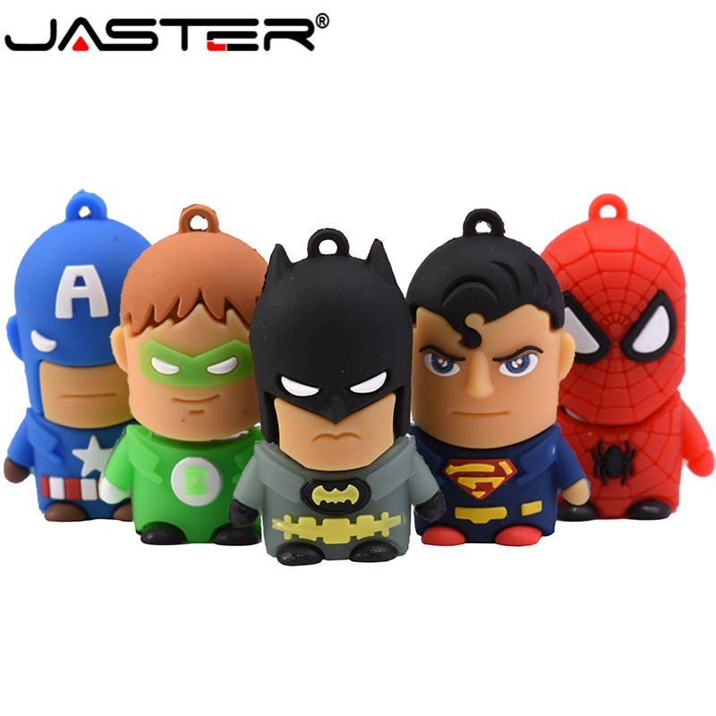 JASTER USB 2.0 Cartoon Gift Superhero Avengers / Superman / Batman / Spiderman Pen Drive 4GB 8GB 16GB 32GB 64GB Flash Drive