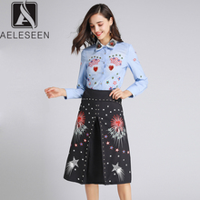 AELESEEN Ruway Printed Office Lady Twinset Luxury Beading Collar Sequined Blue Shirt Tops + Black Star Print Mid Calf Skirt Set