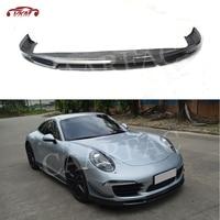 Front Bumper Lip Spoiler fit for Porsche 911 991 GT3 2012 2015 Carbon Fiber Head Chin Shovel Guard Plate Car Accessories