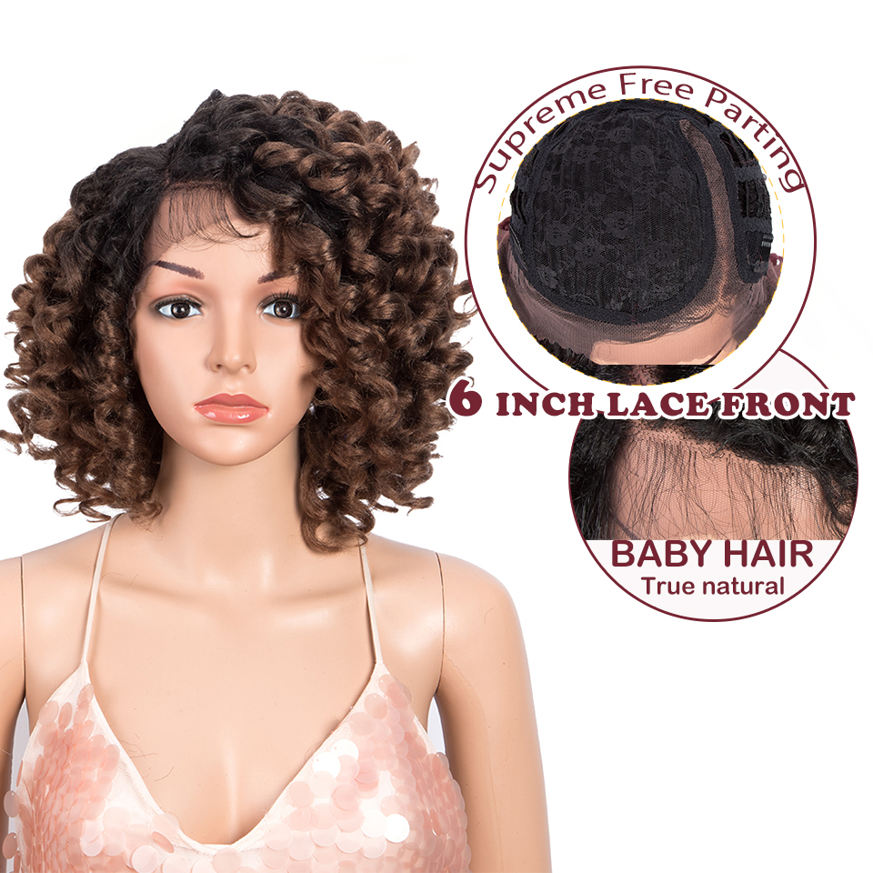 Perruque synthétique Magic Hair bouclée 14 pouces | Perruque Lace Front Wig brune avec racines brunes courtes, perruque de femmes noires à haute température