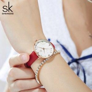 Image 4 - Shengke 2019 ผู้หญิงนาฬิกาสบายๆควอตซ์นาฬิกาสายหนังกันน้ำนาฬิกาข้อมือของขวัญ Zegarek Damski