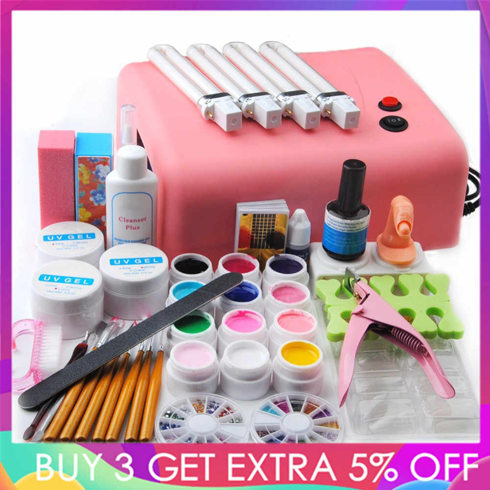 Nieuwe Pro Nail Gel Set Nail Art Kit 36W UV Lamp Nail Gel Polish UV Gels Top Jas Manicure set Nail Gereedschap