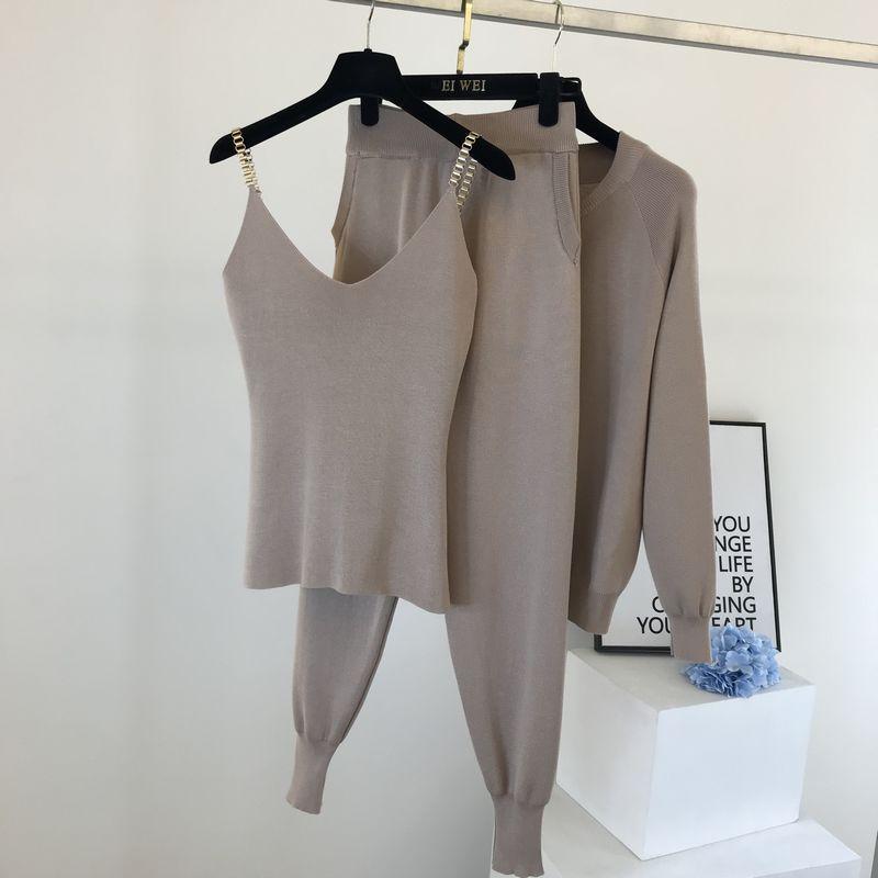 Amolapha Women 2020 Autumn Winter Knitted  Vest Zipper Cardigans Pants 3pcs Sets Tracksuits Outfits 4