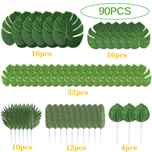 90 Pieces 6 Kinds Artificial Palm Leaves Tropical Leaves Decorations For Jungle Party Decorations Beach Birthday Luau Hawaiian