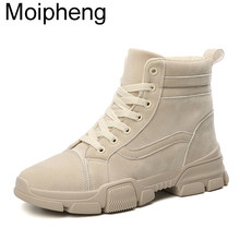 Moipheng Boots Women 2019 Winter Botas Mujer Invierno Ankle Boots Warm Plush Ladies Shoes Faux Suede Slim Boots Sexy Red Shoes(China)