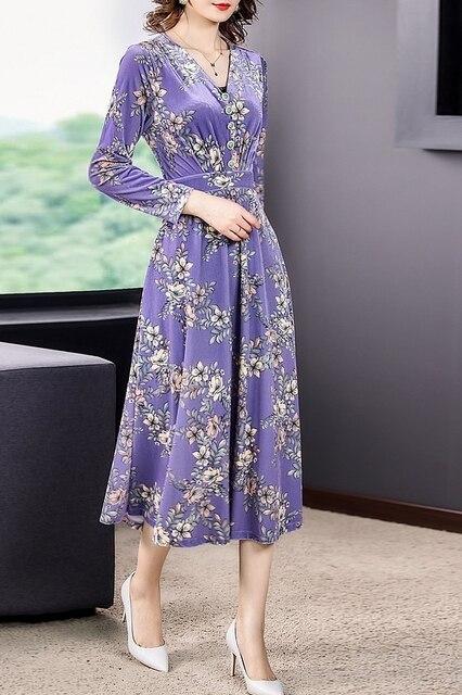 ZUOMAN 2021 Fall Winter Purple Floral Velvet Midi Dresses Korea Vintage 3XL Plus Size Long Dresses Women Elegant Party Vestidos 6