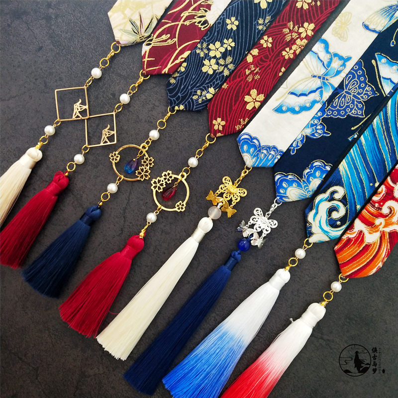 Antique Chinese Clothing Ribbon Embroidery Accessories For Men And Women Wiping Forehead Fringed Hair Rope Hair Jewelry Costume