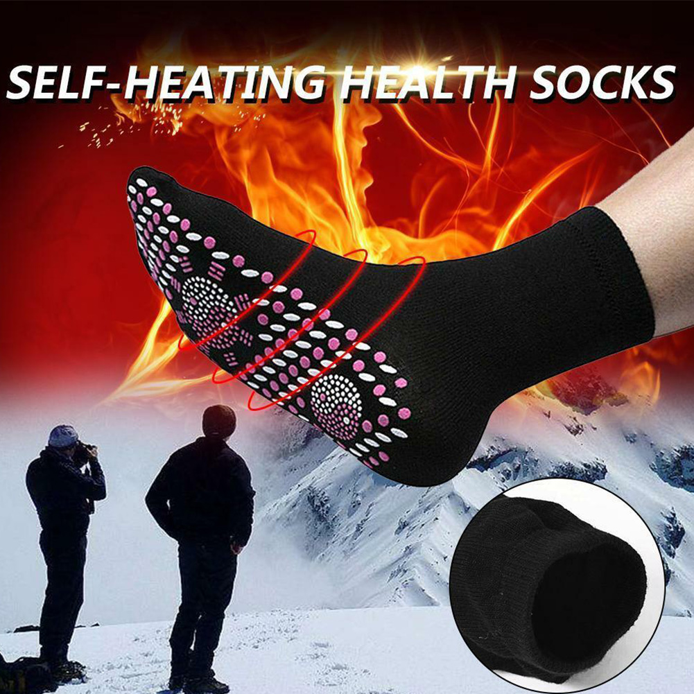 Unisex Outdoor Self Heating Socks Magnetic Therapy Warm Tourmaline Deodorize Winter Sports Socks Skiing Hiking Travel Washable
