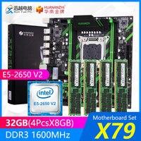 HUANANZHI X79 마더 보드 세트 X79-ZD3 REV2.0 M.2 MATX 인텔 제온 E5-2650 V2 2.6GHz CPU 4*8GB (32GB) DDR3 1600MHz RECC RAM