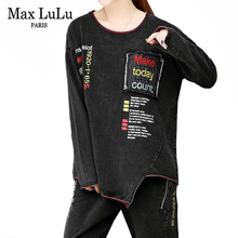 Max LuLu 2019 Autumn Fashion Korean Ladies Tops And Pants Women Punk Two Pieces Sets Outfits Casual Embroidery Clothes Plus Size