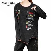 Max LuLu ensemble deux pièces femmes femmes, style Punk, vêtements brodés, grande taille, automne 2019 hauts et pantalons