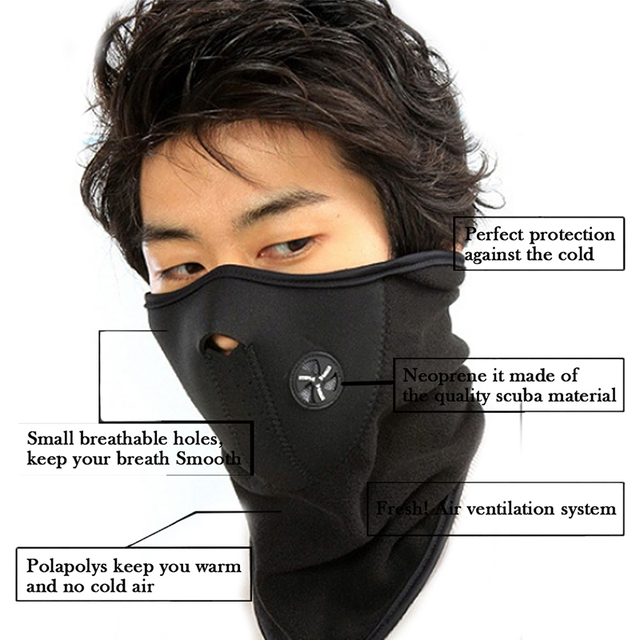 FENRIR Motorcycle Half Face Mask Cover Fleece Unisex Ski Snow Moto Cycling Warm Winter Neck Guard Scarf Warm Protecting Maske 2