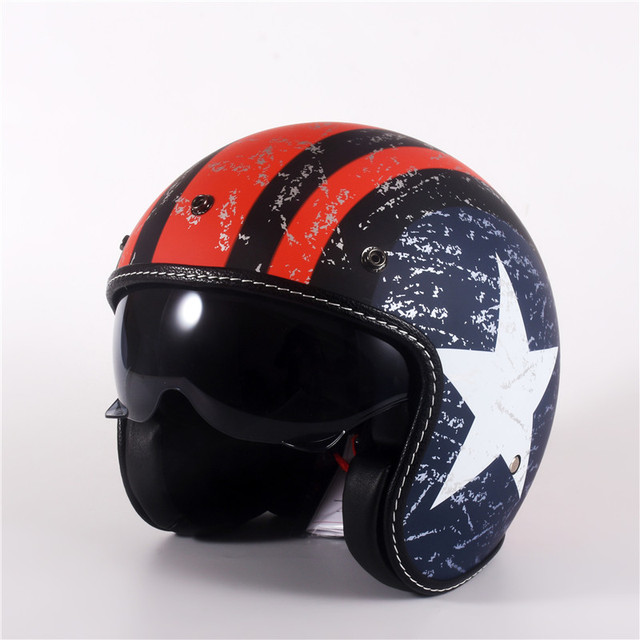 Vạn Lịch Mở Mặt Moto Rcycle Mũ Bảo Hiểm Lật Lên Tấm Che Vintage Retro Moto 3/4 Nón Bảo Hiểm Nửa Năm 818 XS Đến XL 53 Cm 61 Cm